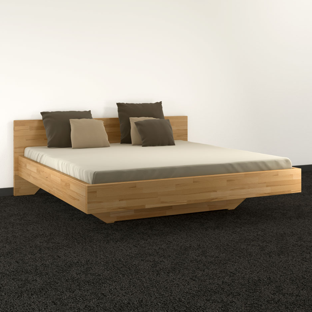 doppelbett schwebend aus 40 mm massivholz zimmerware. Black Bedroom Furniture Sets. Home Design Ideas